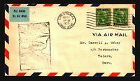 Canal Zone 1929 FFC to Peru - Z17550