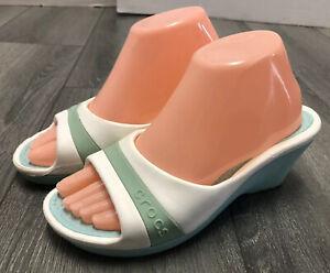 Crocs Sandals Womens 7 Slip On Wedge Heel Sassari Blue White Slides Slip On