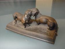 Dackel Bronze Skulptur Plastik Metall Figur Tier Animal Dog Statue vintage Deko