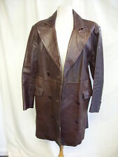 """Ladies Leather Coat brown, UK 14, bust 40"""", length 38"""", fitted, not perfect 2515"""