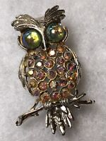 1960s Vintage Owl Brooch 1970s Aurora Borealis Glass Cabochons Jewellery Jewelry