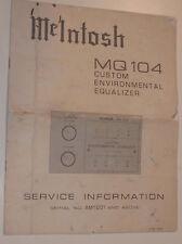 ORIGINAL VINTAGE MCLNTOSH MQ-104 SERVICE INFORMATION! SPECS! PARTS! BOARD LAYOUT