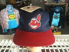NWT vtg 90s Cleveland Indians SNAPBACK Hat Baseball Cap MLB Mens Blue Adult