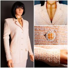 STUNNING ST.JOHN COUTURE RIBBON KNIT 2PC.SKIRT SUIT,PEACH/WHITE,SZ10/8,CHIC!