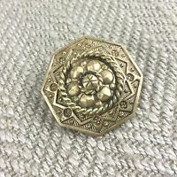 Antique Victorien Broche Pinchbeck ? Vergold Orné 19th Siècle
