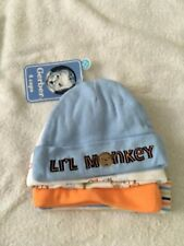 NWT Gerber newborn 0-6 months 4 pack hat caps beanie animals stripes monkey