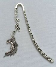 Tibetan Silver Bookmark - With Moon Charm