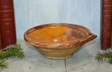Antique French Confit Pottery Tian Bowl Pouring Spout Ochre Mustard Earthenware