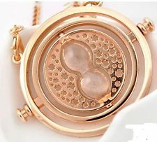 New Harry Granger Rotating Time Turner Potter Hermione Necklace Gold Hourglass