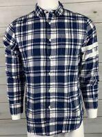 American Rag Men's Button Down Shirt Navy Blue White Check NWT MSRP $45 A6419