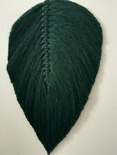 Macrame Feather/ leaf wall hanging, home decor gift cotton, dark green, 26×14cm