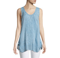 💕 JOHNNY WAS Eyelet SUMMER EMBROIDERED TANK TOP Blouse Crochet Sleeveless M 💕