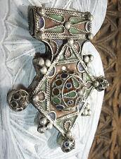 Medio marroquí Verde Y Amarillo Esmalte amazigh Hecho a Mano Cruz cúpula colgante