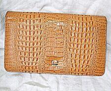 Vintage crocodile ou Synthétique Pochette en métal doré C sur Snap Fermoir Smart Chic