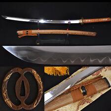Clay Tempered UNOKUBI-ZUKURI Blade DRAGON MUSASHI TSUBA JAPANESE SWORD KATANA