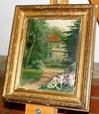 Antike Ölgemälde , Gemälde Bild ?Haus am Wald?, Karton, Goldrahme.