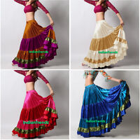 Mix Color Satin 6 Yard 5 Tiered Gypsy Skirt Belly Dance Ruffle Flamenco Jupe