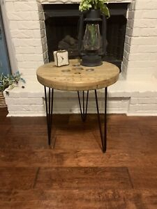 Custom industrial wooden spool end tables / night stand - Golden Oak
