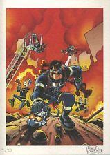 Ex-libris Offset Pompiers (Les) Au feu Festival BD du Roeulx