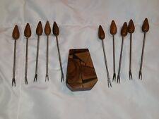 Vintage Wood Handle Hors d' Oeuvres Appetizer Forks Set of 10 With Wooden Holder