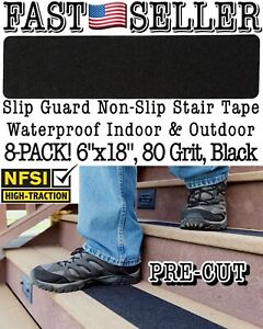 """Slip Guard Waterproof Non-Slip Stair Tape 6""""x18"""" Safety Steps, 80 Grit *8-PACK*"""