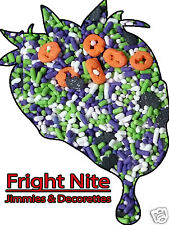 Halloween Fright Nite Edible Pumpkins & Bats Jimmies Sprinkles Decorrettes 16 oz