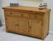 Beaufort Oak Large Sideboard Three Door Storage Cupboard Solid Wood