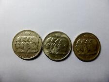 Lot de 3 pièces belges argent - 100 Fr - type 4 rois - bon état - photos