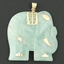 Tallado Jadeíta Jade Elefante Colgante -14k Oro Amarillo Shou Longevidad