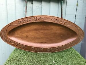 SUPERB 19thC OVAL WOODEN OAK BREAD TRAY WITH RELIEF CARVING, FRENCH TEXT c1890s