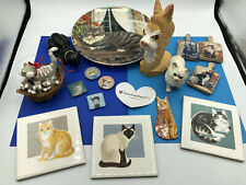 Lot of 16 Adorable Cat Figurines - Magnets - Tiles - Glasses Holder - Plate