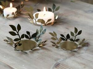 Golden Leaf Design Tea Light Candle Holder, Round Metal Gold Leaves Coaster