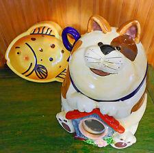 New In Box 2 Pc Kitty Cat Ceramic Treat Storage Jar Food Canister & Feeding Bowl