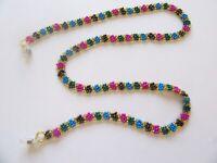 Spirit of Nature Eye Glass Holder Chain- Beads Flower- pink blue green gold