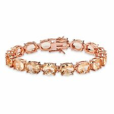 PalmBeach Jewelry Simulated Pink Morganite Rose Gold-Plated Bracelet 7.25""