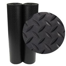 Diamond Plate Rubber Flooring Mat Non Slip Garage Gym Protector 4 x 10 ft Black