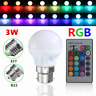 3W E27 B22 LED RGB Light Bulb 16 Colors Changing Lamp +IR Remote Control 85-265V
