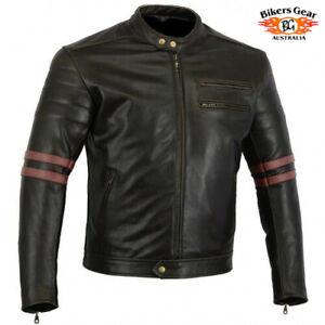 Australian Bikersgear Men's Retro Vintage Cafe Racer Motorcycle Leather Jacket