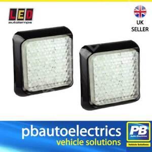 2x LED Autolamps White Reverse Light / Lamp 100mm Square 80WME