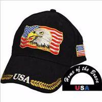 American Eagle/American Flag, Black Cloth, High Quality Ball Cap