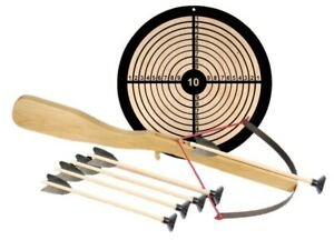 Armbrust Set mit 5 Pfeilen / Bolzen und Ziel Kinder Spiel Armbrust aus Holz