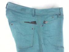 DIESEL Darron Jeans Regular Slim Tapered Aqua Green Summer Denim Mens 38/32 $195