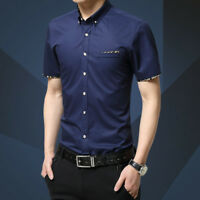 Fashion Slim Mens Formal Shirt Tops Short Sleeve Stand Collar Casual Dress Shirt