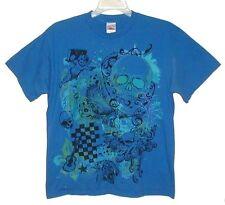 Sz L T-Shirt SKULLS & ANGEL with BOOM BOX Royal Blue TENNESSEE RIVER Cotton