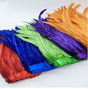 25-30cm Rooster Tail Feather Trimming/Ribbon For Crafts Dress Skirt DIY
