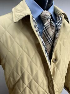 Burberry London Quilted Yellow Jacket Coat Men's S Made In England