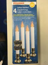 """Sylvania V24329 4 Pack 9"""" Battery Operated Flickering LED Window Candles Used"""