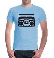 Herren Unisex Kurzarm T-Shirt Ghettoblaster Kassettenrekorder Kassette music