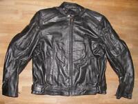 SCHWERE Herren- Motorrad - Lederjacke / Biker- Jacke in schwarz ca. Gr. 56/58