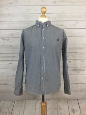 Kangol Men's Casual Blue & White Check Long Sleeve Buttoned Shirt Size Large